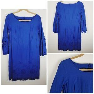Talbots blue embroidery eyelet Bell sleeve dress 6